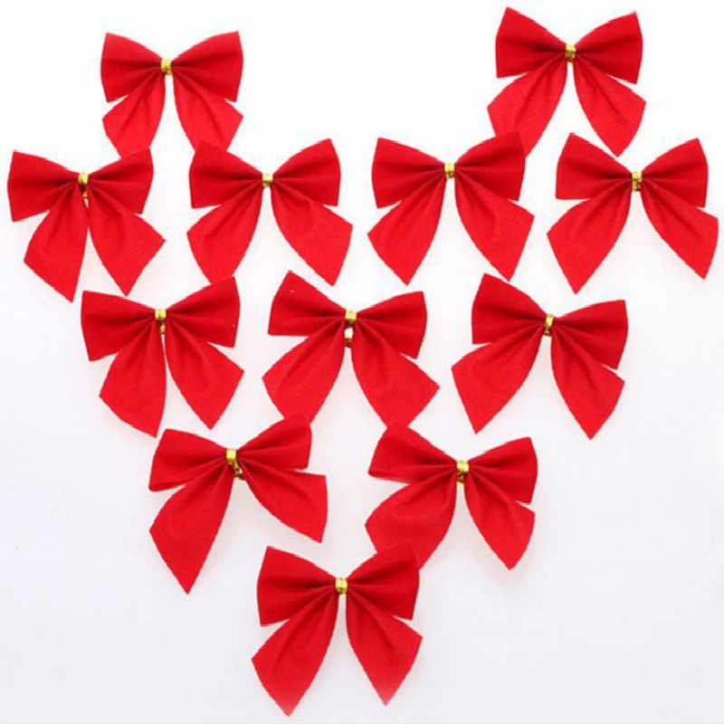 12 шт. красный золотой серебряный рождественские банты Рождественская елка орнамент для рождественской елки подарки Рождественские украшения для вечеринок своими руками