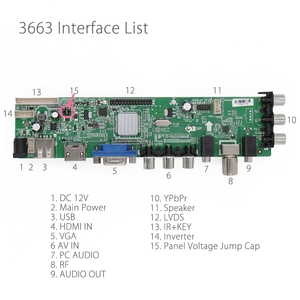 Image 2 - 3663 yeni dijital sinyal DVB C DVB T2 DVB T evrensel LCD TV denetleyici sürücü panosu yükseltme 3463A rus USB oyun LUA63A82