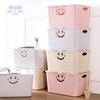 Smiling face plastic storage box wardrobe covered clothes box clothing finishing box snack toy storage box