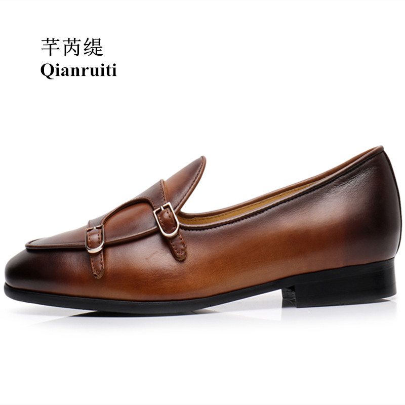 Qianruiti Vintage Style Men Slip-on Loafers Italy Street Smoking Shoes Buckle Monk Flats EU39-EU46 Men Wedding Shoes qianruiti men alligator gold loafers metal toe business wedding oxfords high quality lace up slippers men dress shoe eu39 eu46