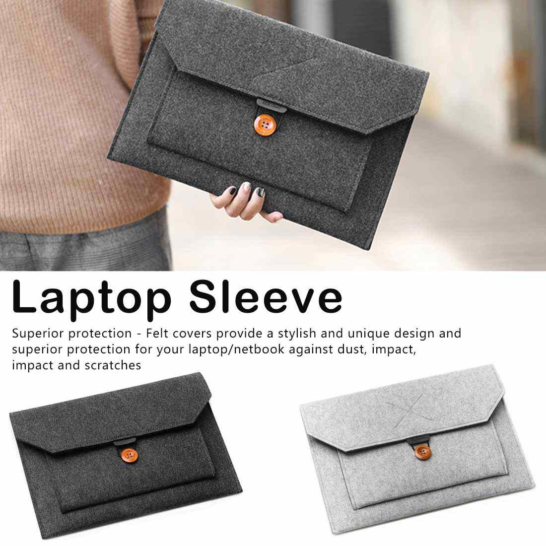 Fashion Wol Merasa Handbag Case Laptop Sleeve Tas Laptop untuk Macbook Air Pro 12 13.3 14 Lenovo Asus Laptop HP tas Kapal