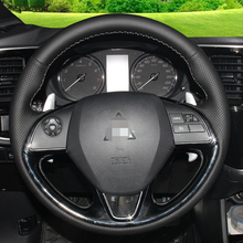 Hand-stitched Black Leather Steering Wheel Cover for Mitsubishi Outlander 2015