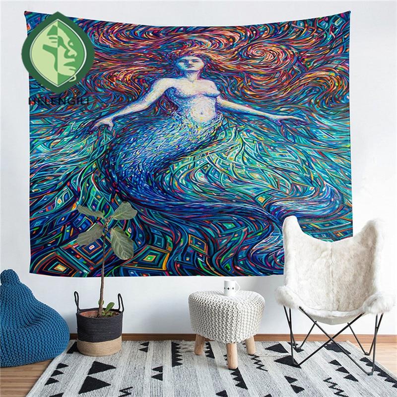 HELENGILI Home Furnishing Abstract People Tapestry Wall Hanging Sandy Beach Picnic Throw Rug Blanket Camping Tent Sleeping Pad