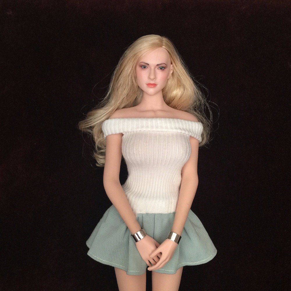 "1:6 Scale Female White Wrapped Chest and Green Dress Set For 12/"" Phicen HT Body"