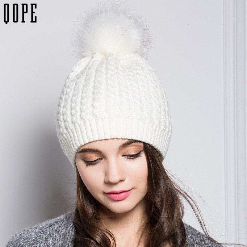 Womens Warm Beanie Hats Winter autumn Fur Pompom Hat Female Cap Knitted Wool Cotton Gorro Solid Multicolors Beanies Cap