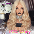 Wavy Blonde Human Hair Wigs 180% Density Full Lace Wig Lace Front Wig Brazilian Virgin Hair Glueless Full Lace Human Hair Wigs