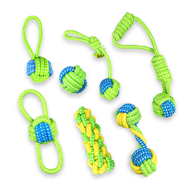 JU 1pcs Pet Dog Toy Molar Tooth Cleaning Resistance To Bite Pet Large Dogs Toy Training Game And Chew Cotton Rope Puppy Supplies