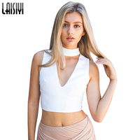 LAISIYI Summer Sexy V Neck Sleeveless High Neck Cropped Sexy Tank Top Women Halter Girls Fitness Short Crop Tops White VE1212
