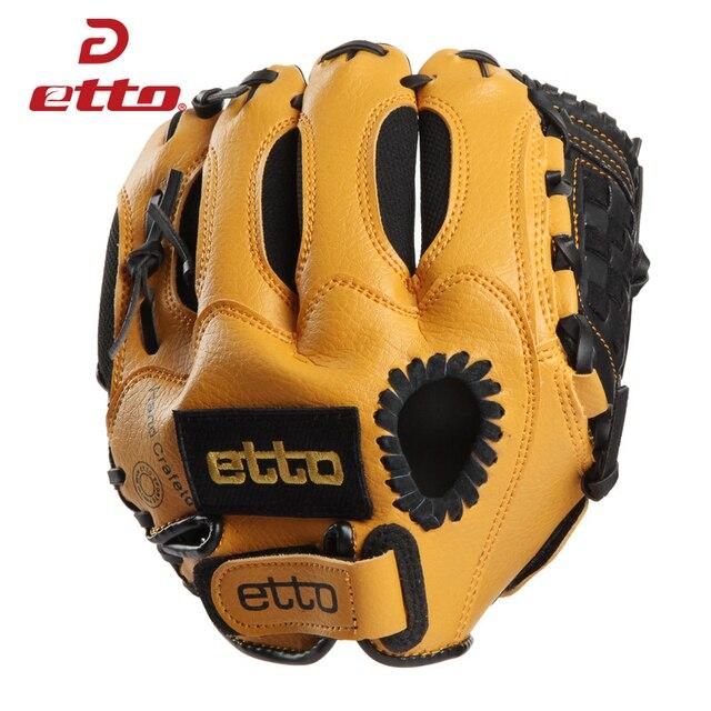 Etto 10 Inches High Quanlity PVC Right Hand Baseball Glove Children Kids Softball Baseball Training Gloves For Child HOB001 Y 1