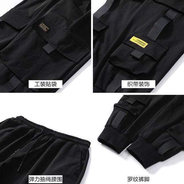 Streetwear Black Harem Pants Men Elastic Waist Punk Pants With Ribbons Casual Slim Jogger Pants Men Hip Hop Trousers 4