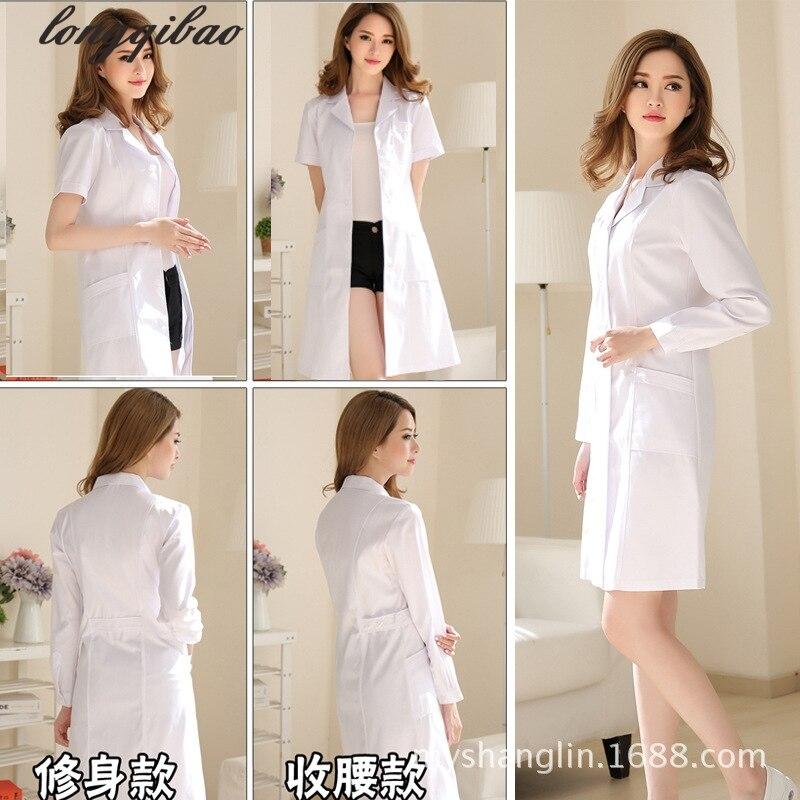 Korean Version Of The Long-sleeved Doctor Nurse Beautician Slim Experimental Clothes White Coat AL105