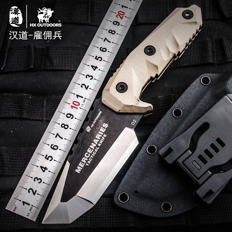 HX OUTDOORS Mercenaries D2 Steel High Hardness Tactics Straight Knife Wilderness Survival Knife Outdoor High Quality Knife