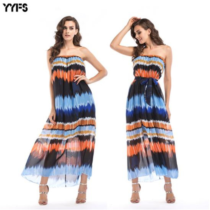 Womens Summer Bohemian Dresses Off Shoulder Ankle Length Female Clothing Beach Style Fshion