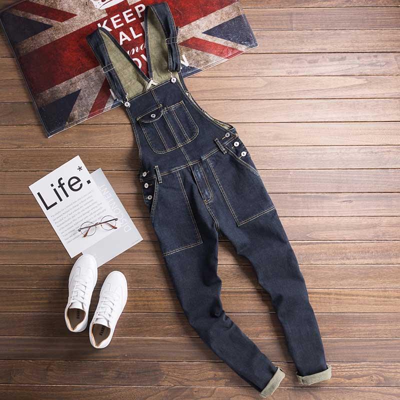 Men Denim Bib Jumpsuit Hip Hop Slim Fit Casual Jean Pants Dark Blue Streetwear Male Suspenders Jumpsuit Size S-2XL (5)