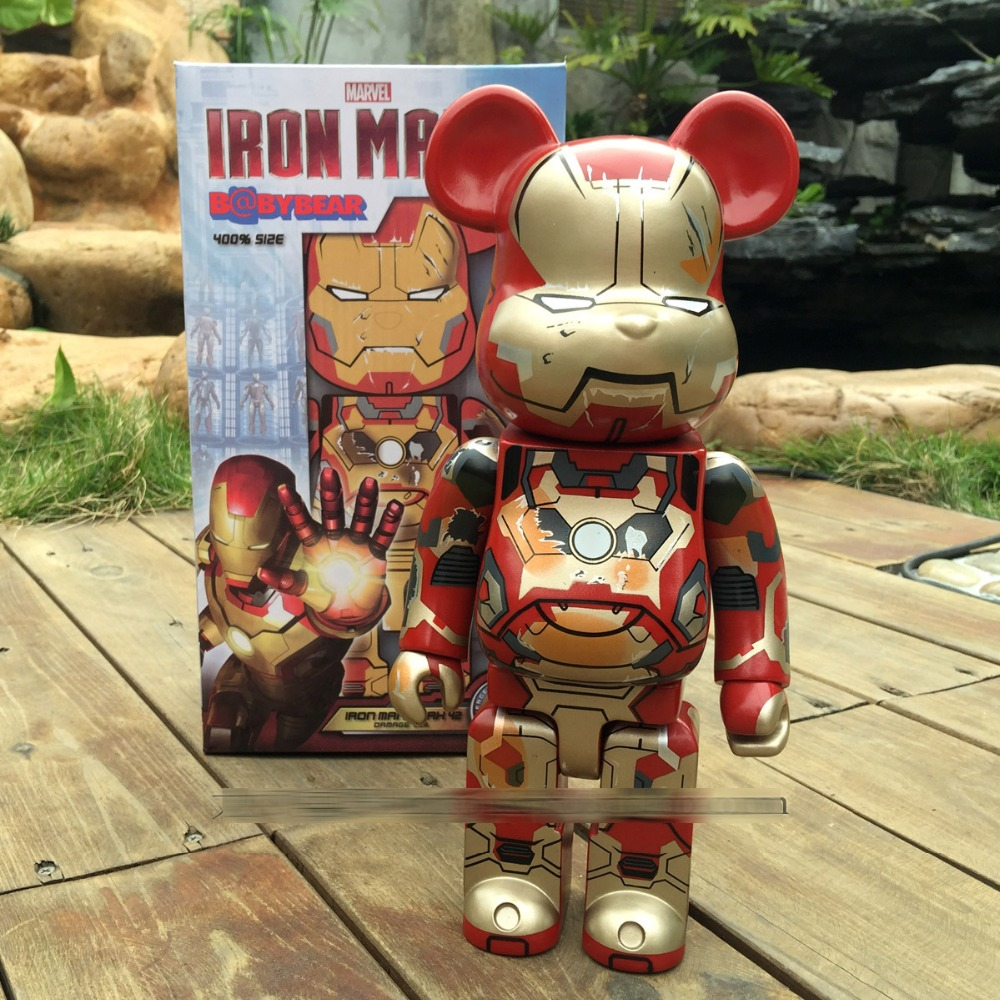 Be@rbrick Vinyl Doll Bearbrick Diy OriginalFake Kaws 400% Action Toy Figure Bear Blocks Iron Man Valentine's Day 28cm with box