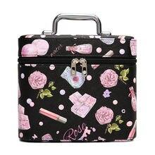 Animal Women Makeup bag PU Leather Cosmetic case makeup organizer Storage box beautician toiletry Flower travel bags