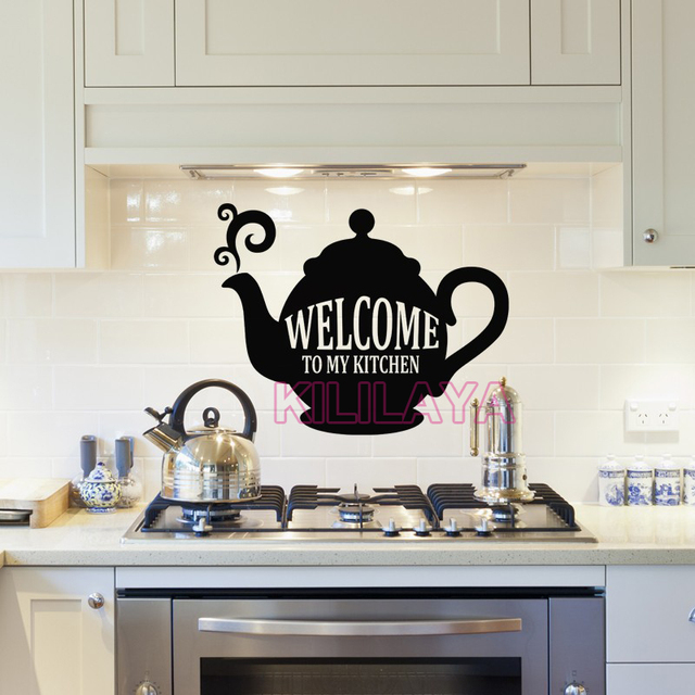 Beau Stickers Cuisine Vinyl Wall Decals Welcome To My Kitchen Removable  Wallpaper Kettle Mural Wall Tile Art