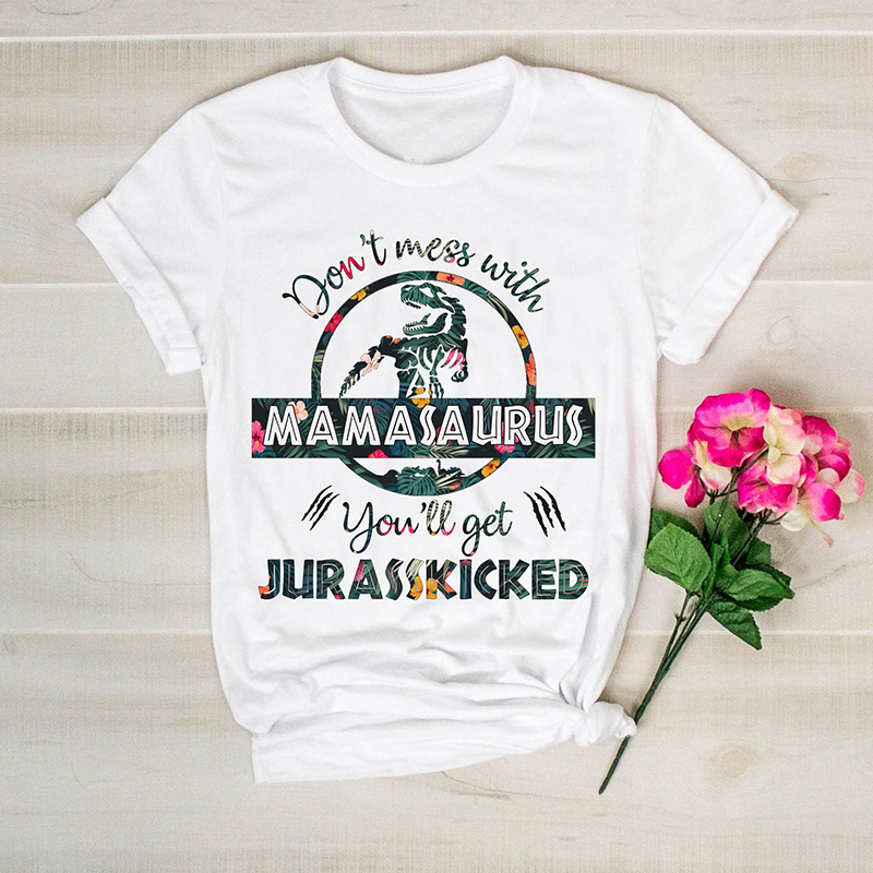 Don'  t   Mess with Grandmasaurus You'll Get Jurasskicked Floral   T     Shirt   Women Funny Dinosaur Mom Birthday Tee Mother's Day Gift