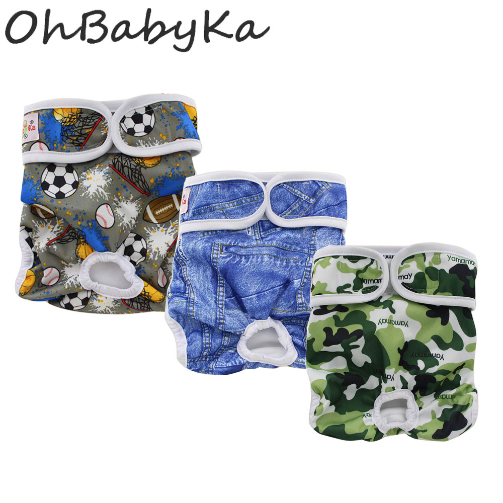 Ohbabyka Washable Dog Cloth Diapers Durable Doggie Nappies Lovely Dog Female Male Pet Dog Pants Sanitary Dog Underwear Pants