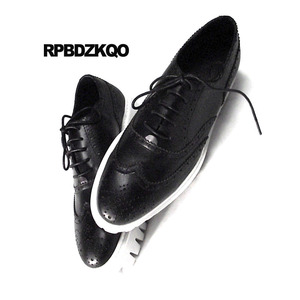 Image 3 - Oxfords Genuine Leather Creepers Spring Men Shoes Handmade Casual Platform Black Big Size Wingtip Brogue Luxury Deluxe Real