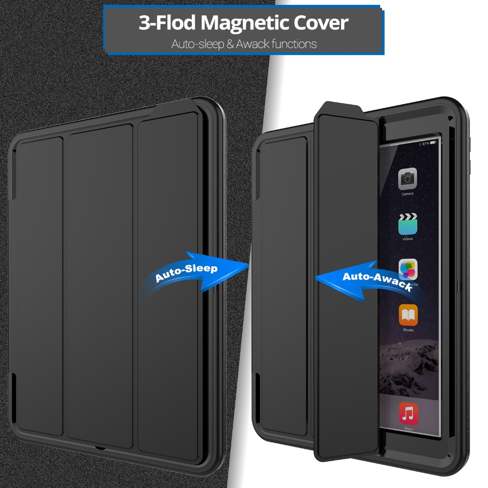 Luxury Smart Wake Up Function Case For IPad 6/Air 2 Safe Armor Shockproof Heavy Duty