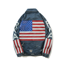 ABOORUN Hip Hop Mens Oversized Denim Jackets US Flag Broken Hole Jeans Coat