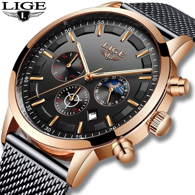 Mens Watches Sport-Clock Military LIGE Quartz Top-Brand Waterproof Casual Relogio Masculino