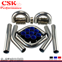 TURBO INTERCOOLER PIPE 2 CHROME ALUMINUM PIPING PIPE TUBE+T CLAMPS+SILICONE HOSES BLACK