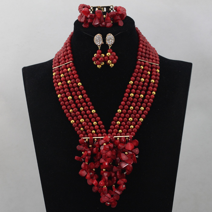 Trendy Wedding Coral Bib Statement Necklace Set Red African Coral Beads Bridesmaid Costume Necklace Set 2017 Free ShippingABL703Trendy Wedding Coral Bib Statement Necklace Set Red African Coral Beads Bridesmaid Costume Necklace Set 2017 Free ShippingABL703