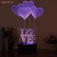 Romantic 3D Hearted Shaped Visualization LED Night Lights Optical Illusion Art