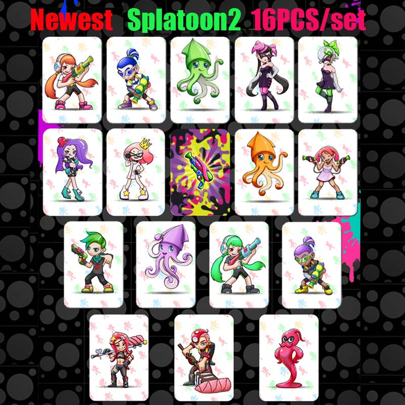 16pcs/set Splatoon 2 NTAG215 Printed NFC Card Written by Tagmo Can Work For Switch16pcs/set Splatoon 2 NTAG215 Printed NFC Card Written by Tagmo Can Work For Switch
