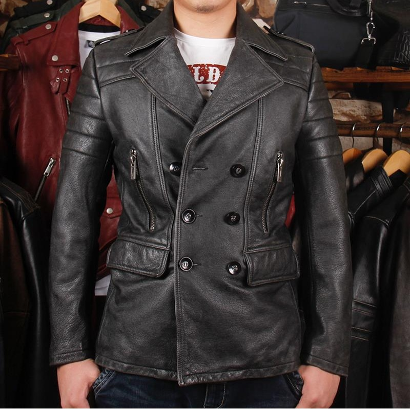 Free Shipping.2017 Brand New Man Thicker Vintage Leather Long Jackets Men's Genuine Leather Biker Slim Jacket.autumn Plus Siz