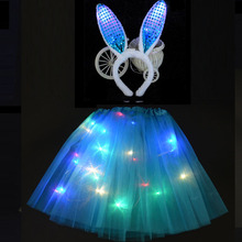 Adult Children Girl LED Light Up Wire Tutu Glow Bunny Rabbit Cosplay Costume Ear headbands Birthday Party Skirt Purim