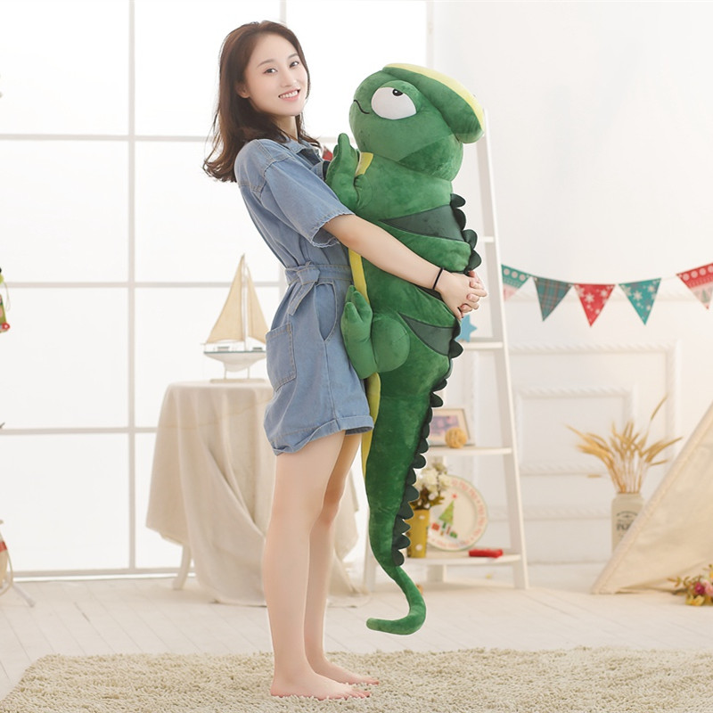 1pc 140cm Cartoon chameleon Plush Toy lizard Soft animal Cushion Stuffed Doll Pillow Home decor Funny Creative Gift for children gift for kids 1pc 45cm funny expression crayon shin chan cute plush hold doll pillow cushion novelty children stuffed toy