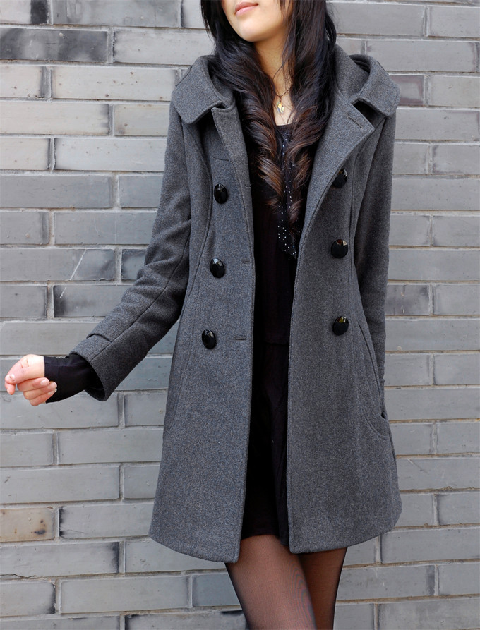 Long wool pea coat women