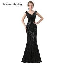 Elegante Negro Con Lentejuelas Vestidos de Noche 2018 Sheer Volver Sirena Vestidos de Noche Largos Del Partido Prom Vestidos vestido de fiesta Por Encargo