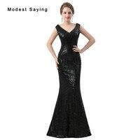 Elegant Black Sequined Evening Dresses 2018 Sheer Back Mermaid Evening Gowns Long Party Prom Gowns vestido de festa Custom Made