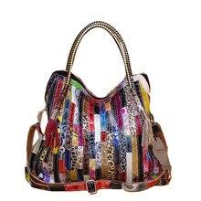 Frauen Leder Handtaschen Schulter Crossbody Taschen Aus Echtem Leder Taschen für frauen Taschen damen einkaufstasche bunte quaste schlange tasche