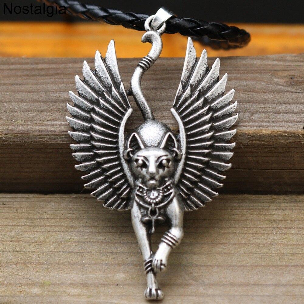 Ностальгическое египетское ожерелье в виде кота с крыльями, античное египетское ожерелье, Сфинкс, Wicca, Pagan, амулет, талисман, колдовство