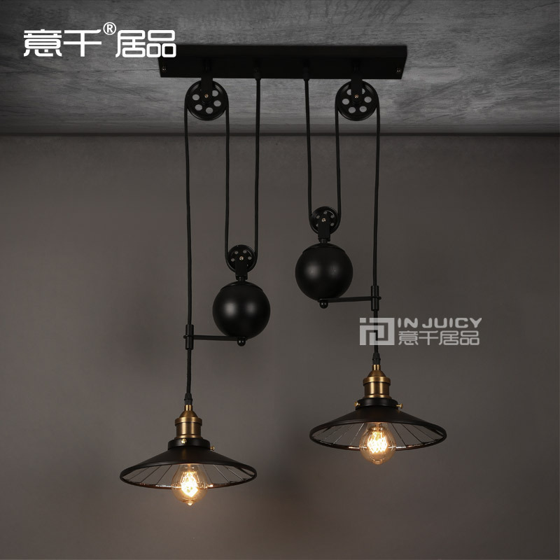 Nordic Edison Vintage  2-lights Industrial Wrought Iron Mirror Lifting pulley droplight Ceiling Lamp Cafe Bar Restaurant Store nordic vintage industrial edison glass pendant ceiling lamp cafe bar hall club store restaurant balcony gallery wood droplight