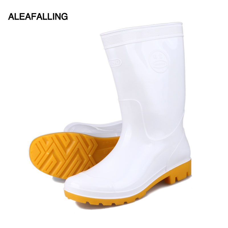 acf988a2d72 US $18.89 25% OFF|Aleafalling Kitchen Rain Boots Work Men White PU Unisex  Waterproof Synthetic All season Cooker's Mature Boots Men Shoes m88 on ...