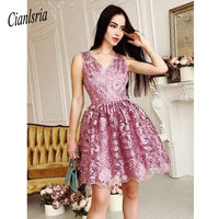2019 V Neck A Line Sleeveless Rosy Brown Lace Short Homecoming Dress Lace Juniors Dress