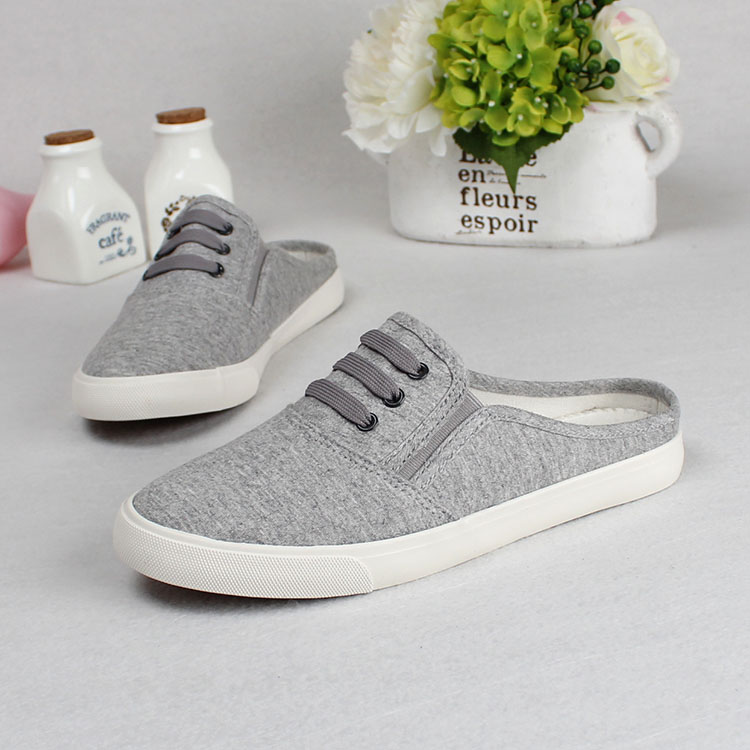 f0c02b14809 White Shoes Summer White Canvas Shoes Casual Shoes Slippers Girls Half  Dragged Shoes womens flats-in Men s Casual Shoes from Shoes on  Aliexpress.com ...