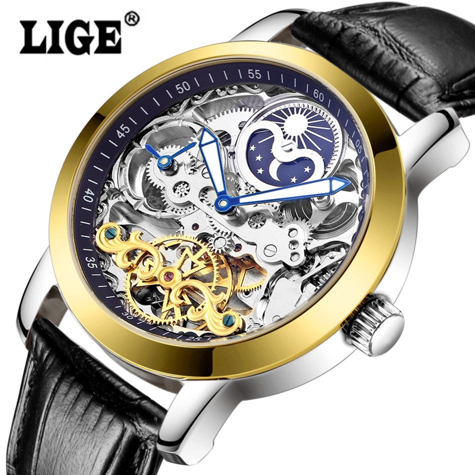 LIGE Mens Hollow Automatic Mechanical Leather strap Watches Men Dive 50M Sport Watch Man Fashion Casual Business Wristwatches tian wang leather strap automatic mechanical watch for business casual men with ss see through case back gs5789s d