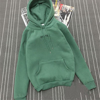 2017 Fsdhion Autumn Winter Fleece Oh Yes Letter Harajuku Print Pullover Thick Loose Women Hoodies Sweatshirts