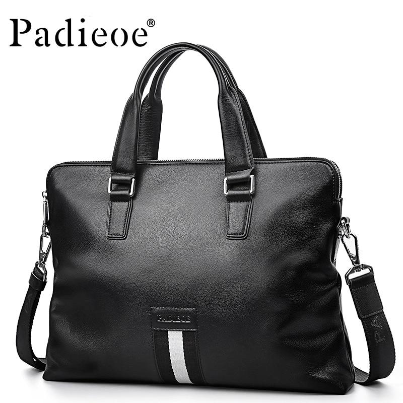 Padieoe Genuine Leather Handbag 14 Inch Laptop Bags Fashion Messenger Bag Men Leather Briefcase Business Shoulder