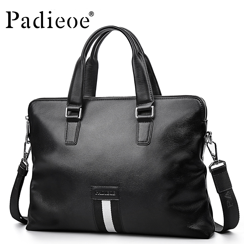 Padieoe Genuine Leather Handbag 14 Inch Laptop Bags Fashion Messenger Bag Men Leather Briefcase Business Shoulder Bag For Male