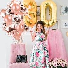 30th 40th 50th Happy Birthday Balloon Air Party Decoration Adult Kids Confetti Latex Foil Ballon Baloon Heart