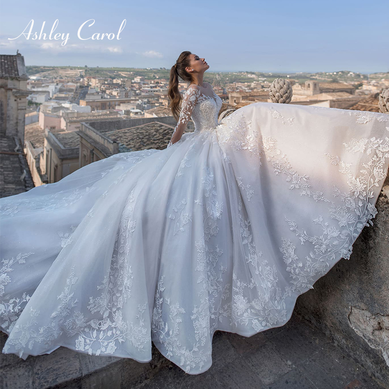 Ashley Carol Sexy V-neck Long Sleeve Tulle Wedding Dress 2019 Court Train Bridal Dress Vintage Lace Princess Wedding Gowns
