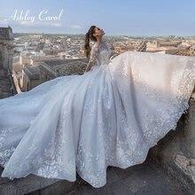 Ashley Carol Langarm Hochzeit Kleid 2020 A Line Perlen Appliques Lace Up Sexy V ausschnitt Prinzessin Brautkleider Vestido De Novia